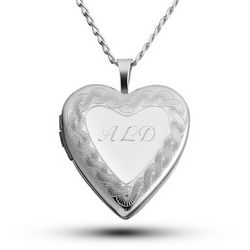 Sterling Silver Heart Locket with Border