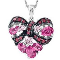 Lab-Created Ruby and Pink Sapphire Ribbon Heart Necklace