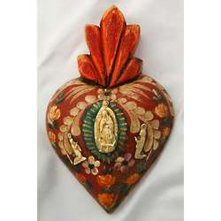 Handpainted Mexican Our Lady of Guadalupe Heart