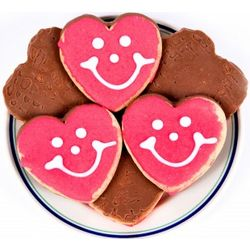 One Dozen Chocolate-Dipped Heart Smiley Cookies