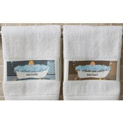 Personalized Bathtub Family Character Hand Towels