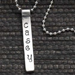 Personalized Stamped Name Bar Pendant