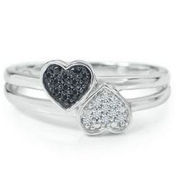 Sterling Silver Double Heart Black and White Diamond Ring