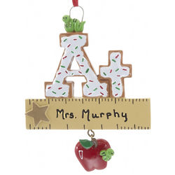 Personalized A+ Teacher Christmas Ornament