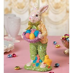 Sequin Bunny Resin Figurine