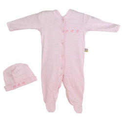 Duck Design Hat and Romper with Pink Stripes