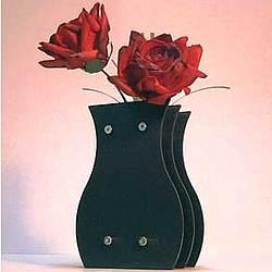 Red Paper Roses in an Elegant Black Vase
