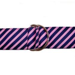 Pink and Navy Diagonal Stripe Ribbon Belt