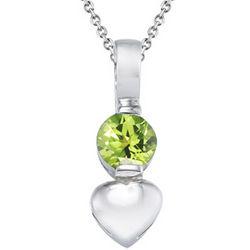 Peridot Heart Pendant in Silver