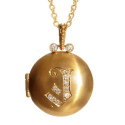 Jeweled Designer Locket Necklace in Bronze and 14k Gold