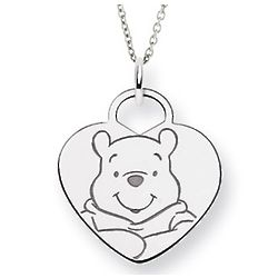 Sterling Silver Winnie the Pooh Heart Pendant