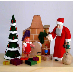 Santa at Chimney Hand-Carved Wooden Christmas Decoration