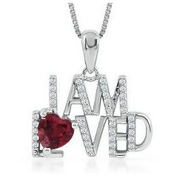 Sterling Silver Heart-Shaped Lab-Created Ruby Necklace