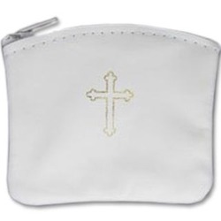 White Leather Rosary Case