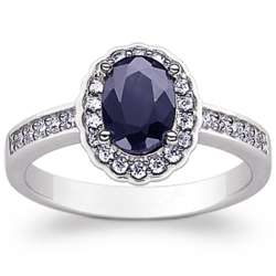 Sterling Silver Oval Sapphire and Cubic Zirconia Ring