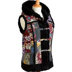Patchwork Hooded Vest with Sherpa Trim