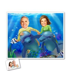 Underwater Adventure Caricature Print