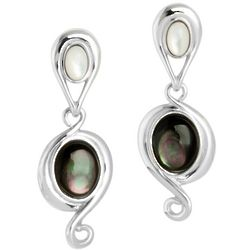Gray and White Mother of Pearl Drop Earrings