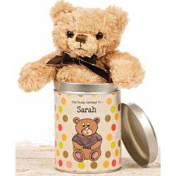 Teddy Bear in Personalized Dots Tin