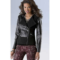 Women's Plus SizeTextured Moto Jacket