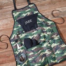 Personalized Camo Deluxe Grilling Apron and Mitt