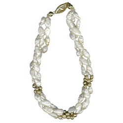 Freshwater Cultured Pearl & 14K Yellow Gold Balls Bracelet