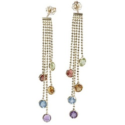 14k Gold Dangling Multi Gemstone Earrings