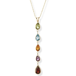 14k Gold Multi Gemstone Tear Drop Pendant on Chain