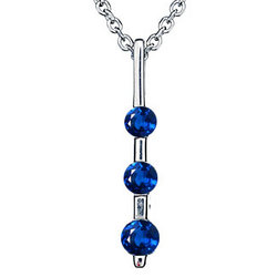 Three Stone Blue Sapphire Pendant in 18K White Gold