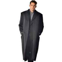 Men's Portly Size Full Length Overcoat in Pure Cashmere
