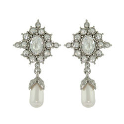 Princess Diana Replica Crystal and Pearl Drop Earrings
