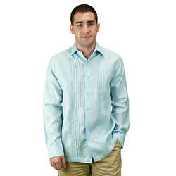 Men's Light Blue Linen Beach Wedding Shirt