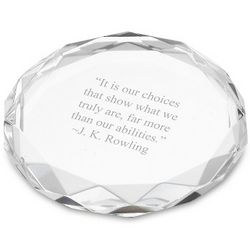 Engravable Round Faceted Edge Paperweight
