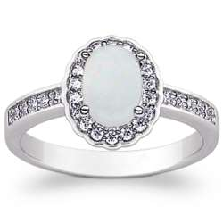 Sterling Silver Opal Cabochon and Cubic Zirconia Ring