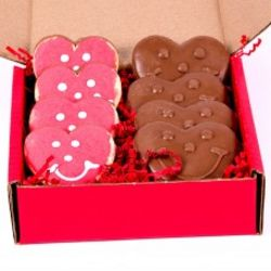 Chocolate-Dipped Cookies and Chocolate Hearts Gift Box