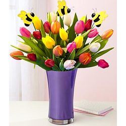 25 Assorted Tulips with Bumble Bee Picks