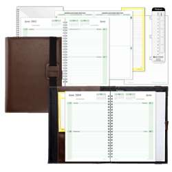 Casual Brown Vinyl Wire-Bound Planner Set