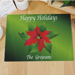 Poinsettia Holiday Personalized Cutting Board