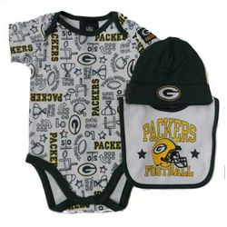 Baby's Green Bay Packers Helmet Creeper, Hat, and Bib