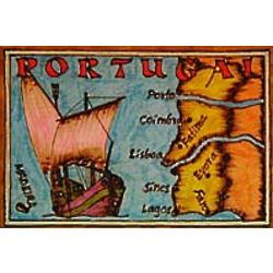 Portugal Map Leather Photo Album in Color