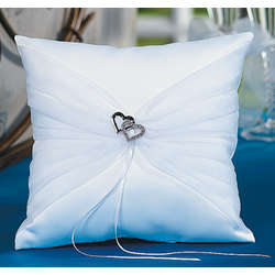 Double Heart Wedding Ring Pillow