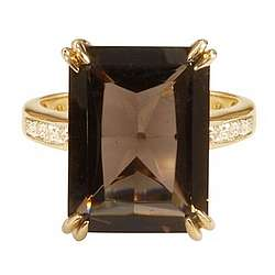 Emerald-Cut Smokey Topaz Ring in 14k Gold with Diamonds