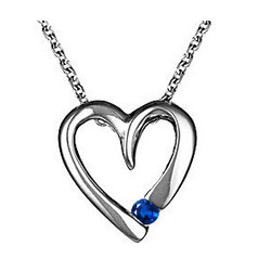 18K White Gold Blue Heart Pendant