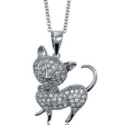 Sterling Silver CZ Accent Cat Pendant with Chain Necklace