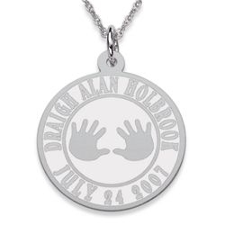 Birth Announcement Sterling Silver Engraved Pendant