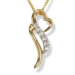 14k Yellow Gold Abstract Diamond Heart Promise Pendant
