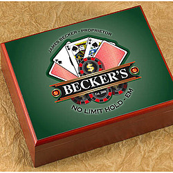 Personalized Cigar Humidor with Poker Image