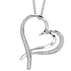 Sterling Silver 1/5ct Diamond Double Swirl Heart Pendant Necklace