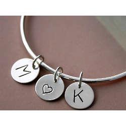 Sterling Silver I Heart You Charm Bangle Bracelet