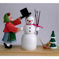 Girl with Snowman Hand-Carved Wooden Christmas Decoration